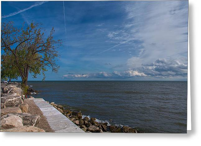 Blue Green Wave Greeting Cards - Looking Out On Lake Erie Greeting Card by John Bailey