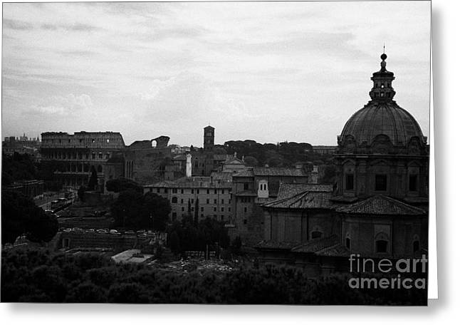 Rome Greeting Cards - Looking out over Rome including skyline with the colosseum and dome of santi luca e martina with the imperial roman forum below Lazio Italy Greeting Card by Joe Fox