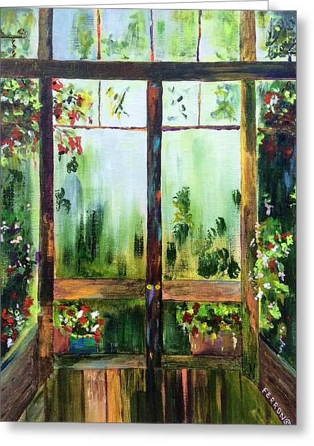 Screen Doors Paintings Greeting Cards - Looking Out Greeting Card by Patti Ferron