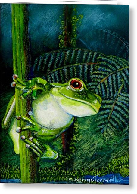 Tree Frog Pastels Greeting Cards - Looking Out Greeting Card by Sandra Sengstock-Miller