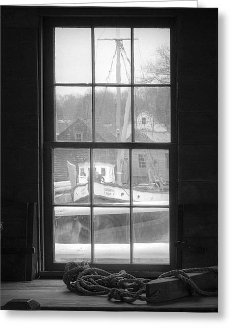 Seagoing Greeting Cards - Looking out the Oyster Shack - Maritime Memories Greeting Card by Gary Heller