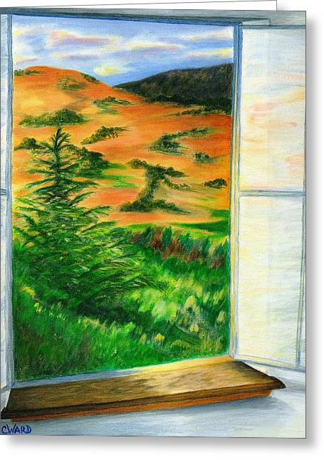 Looking Out The Window Greeting Card by Colleen Ward