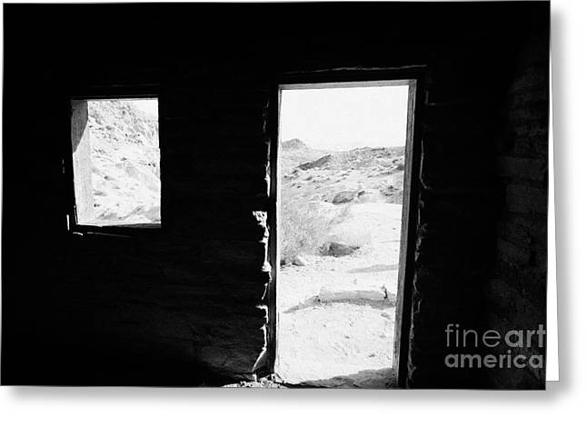 Cabin Window Greeting Cards - Looking Out Through Window And Door  From Interior Of Historic Stone Cabin Built By The Civilian Con Greeting Card by Joe Fox