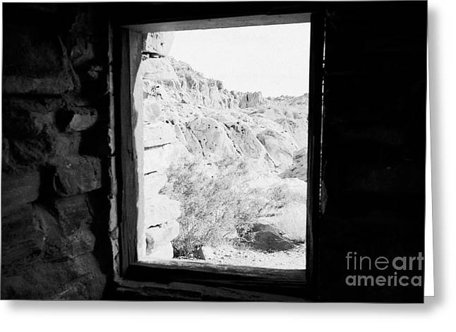 Cabin Window Greeting Cards - Looking Out Through Window From Interior Of Historic Stone Cabin Built By The Civilian Conservation  Greeting Card by Joe Fox