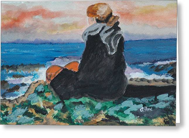 Avis Greeting Cards - Looking Out To Sea Greeting Card by Avis Fox