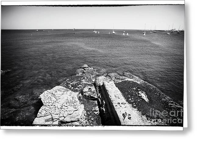 Sailboat Photos Greeting Cards - Looking Past the Rocks Greeting Card by John Rizzuto