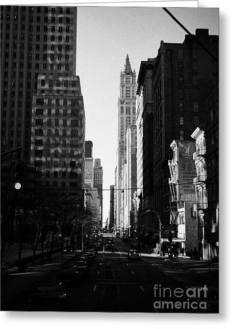 Manhatan Greeting Cards - Looking south down Broadway at Thomas street towards the Woolworth building new york city Greeting Card by Joe Fox