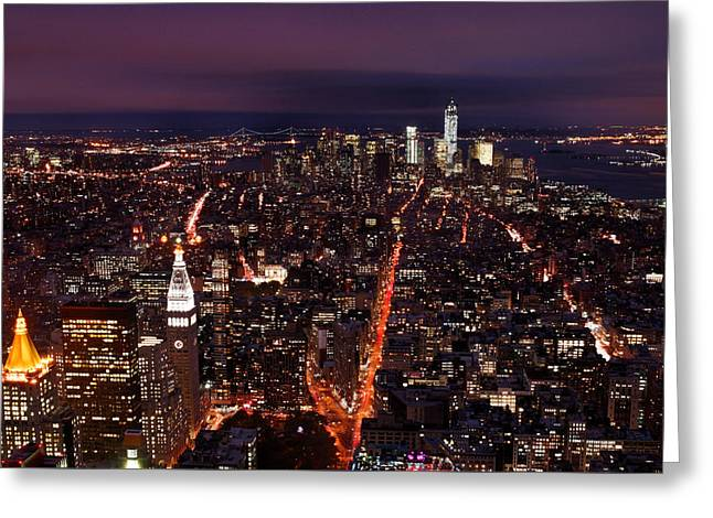 Long Street Greeting Cards - Looking South on NYC New York City Skyline from the Empire State Building Observation Deck Greeting Card by Silvio Ligutti
