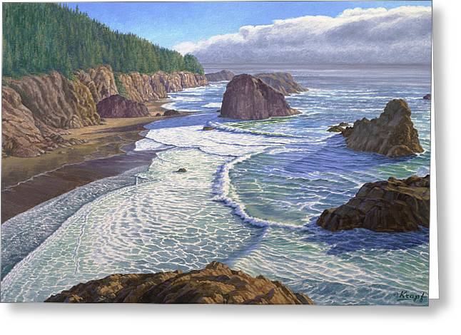Oregon Coast Greeting Cards - Looking South- Oregon Coast Greeting Card by Paul Krapf