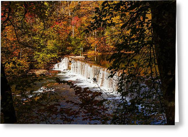 Looking Through Autumn Trees On To Waterfalls Fine Art Prints As Gift For The Holidays  Greeting Card by Jerry Cowart