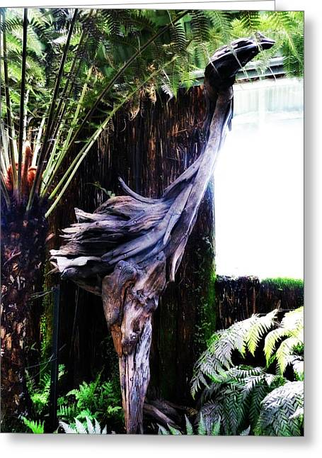 Wooden Sculpture Greeting Cards - Looking Through the Window of Extinction Greeting Card by Steve Taylor