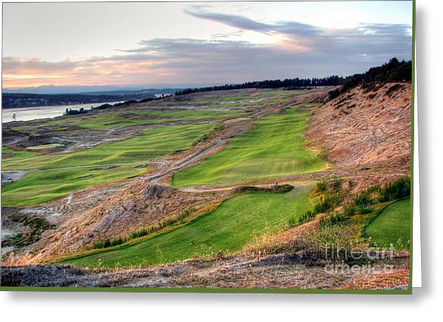 Chambers Bay Golf Course Greeting Cards - Looking to North Meadow - Chambers Bay Golf Course Greeting Card by Chris Anderson