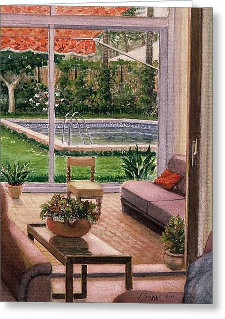 Moonrise Greeting Cards - Looking to the Garden from Inside our Home Greeting Card by Laila Awad  Jamaleldin