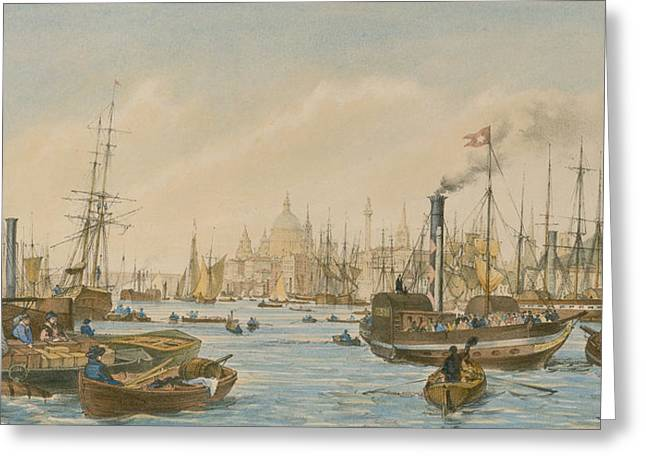 Blue Sailboat Greeting Cards - Looking towards London Bridge Greeting Card by William Parrot