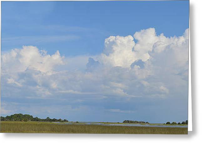 Cedar Key Greeting Cards - Looking towards the Gulf of Mexico - panoramic view Greeting Card by RoyD Erickson