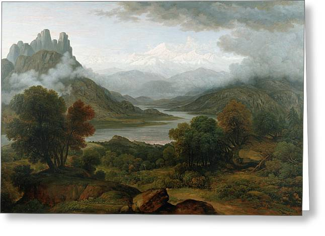 Switzerland Paintings Greeting Cards - Looking Towards The Val Daosta, Bernese Greeting Card by John Glover