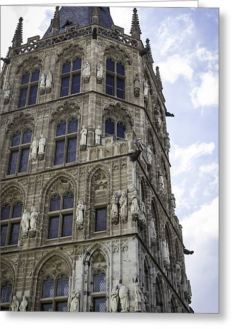 Self Confidence Greeting Cards - Looking Up at City Hall Cologne Germany Greeting Card by Teresa Mucha