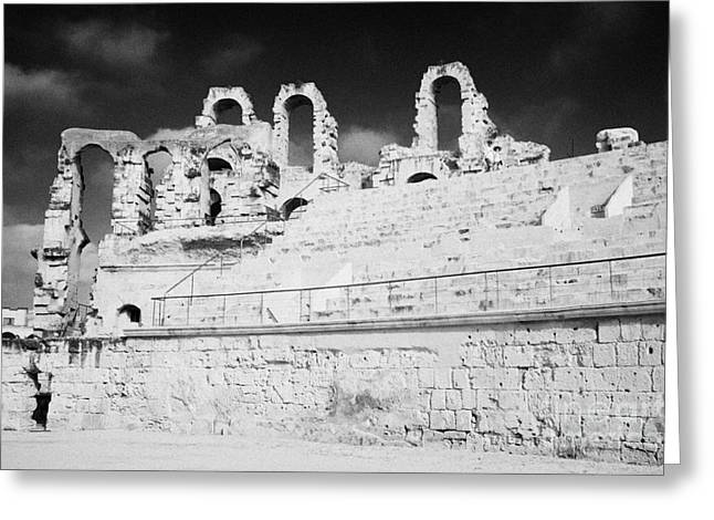 African Heritage Greeting Cards - Looking Up At Rear Remains And Layered Seating Area In The Main Arena Of The Old Roman Colloseum At El Jem Tunisia Greeting Card by Joe Fox