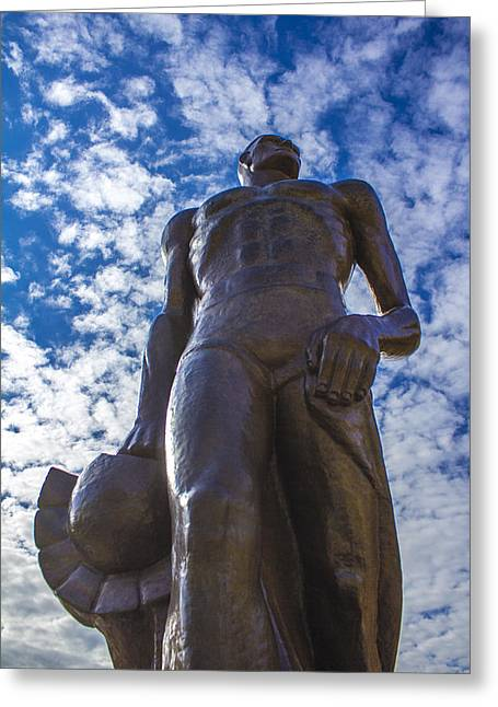 Spartan Greeting Cards - Looking up at The Spartan Statue Greeting Card by John McGraw