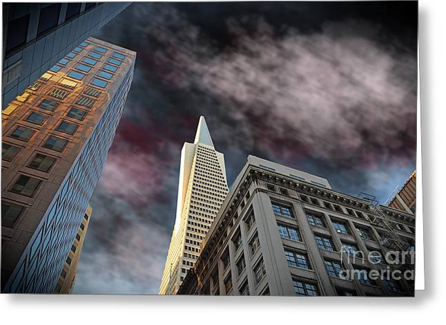 Downtown San Francisco Greeting Cards - Looking up at the Transamerica Pyramid Altered Version II Greeting Card by Jim Fitzpatrick