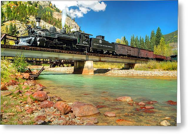 Narrow Gauge Steam Engine Greeting Cards - Looking Up From the Riverbed Greeting Card by Ken Smith