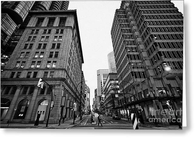 North Vancouver Greeting Cards - looking up hornby street from 900 west hastings and the credit foncier building Vancouver BC Canada Greeting Card by Joe Fox