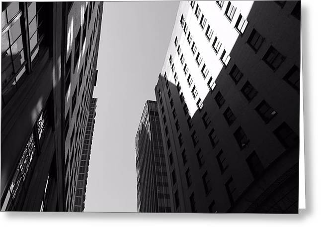 Nashville Downtown Greeting Cards - Looking Up In Nashville Black And White Greeting Card by Dan Sproul