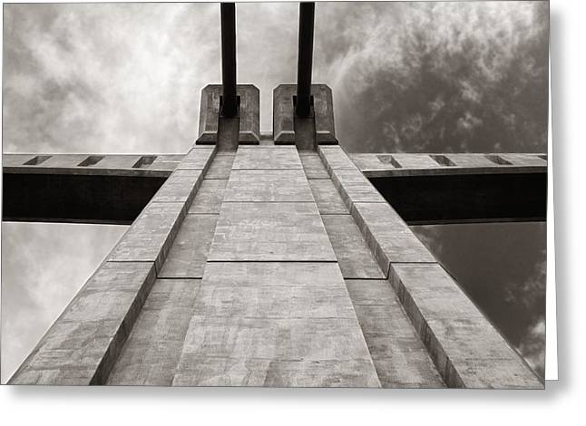 Pillars Greeting Cards - Looking Up on the Hennepin Avenue Bridge Greeting Card by Jim Hughes