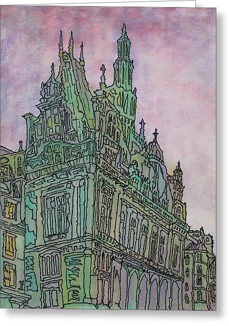 Prague Paintings Greeting Cards - Looking Up  Greeting Card by Oscar Penalber
