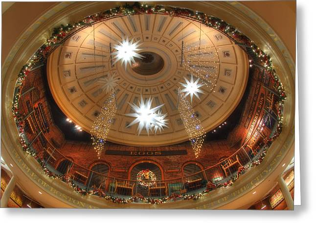 Faneuil Hall Greeting Cards - Looking Up - Quincy Market Boston Greeting Card by Joann Vitali