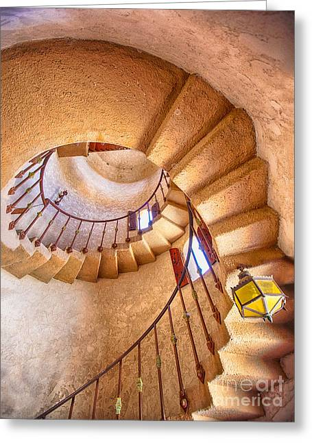 Castle In Valley Greeting Cards - Looking Up The Down Staircase Greeting Card by Mimi Ditchie