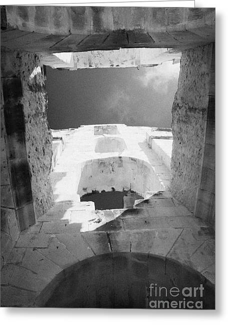African Heritage Greeting Cards - Looking Up Through The Upper Area Towards Blue Sky At The Old Roman Colloseum At El Jem Tunisia Greeting Card by Joe Fox