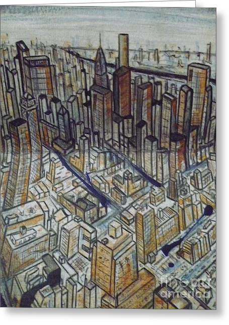 Midtown Paintings Greeting Cards - Looking Uptown From Midtown Greeting Card by Daniel Dawson