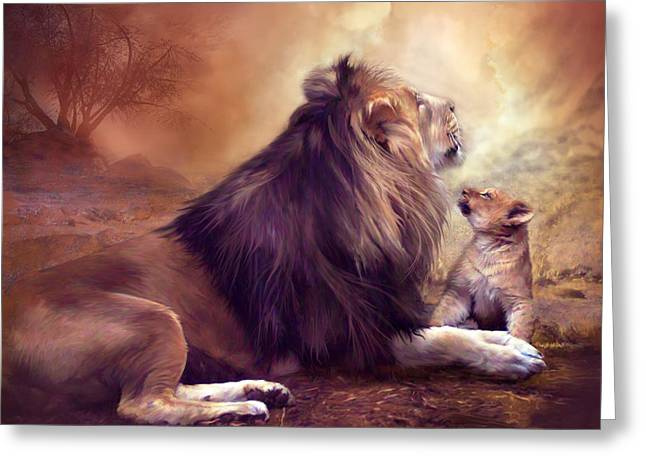 African Lion Art Greeting Cards - Looking Upward Greeting Card by Carol Cavalaris