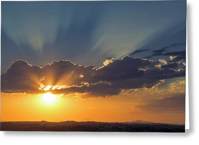 Looking West At Inspirational Sunset Greeting Card by Chuck Haney