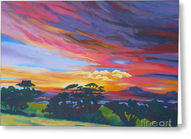 Stockton Paintings Greeting Cards - Looking West From Amador Hills Greeting Card by Vanessa Hadady BFA MA