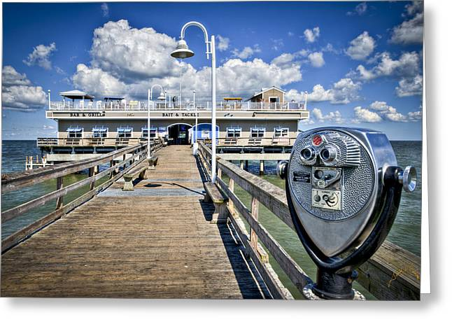 Oceanview Greeting Cards - Lookout at Oceanview Fishing Pier - Color Greeting Card by Williams-Cairns Photography LLC