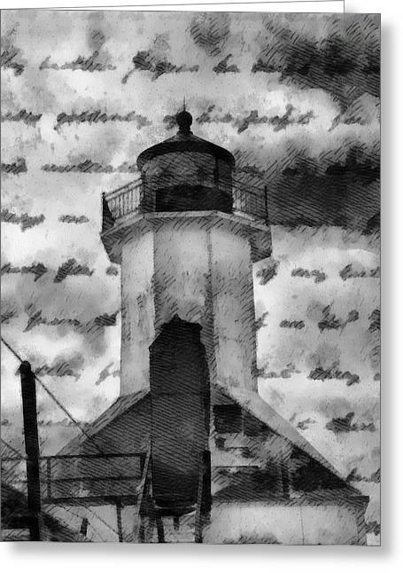 Henry Mixed Media Greeting Cards - Lookout Lighthouse Greeting Card by Dan Sproul