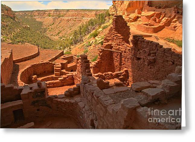 Ancient Ruins Greeting Cards - Lookout Over Long House Greeting Card by Adam Jewell