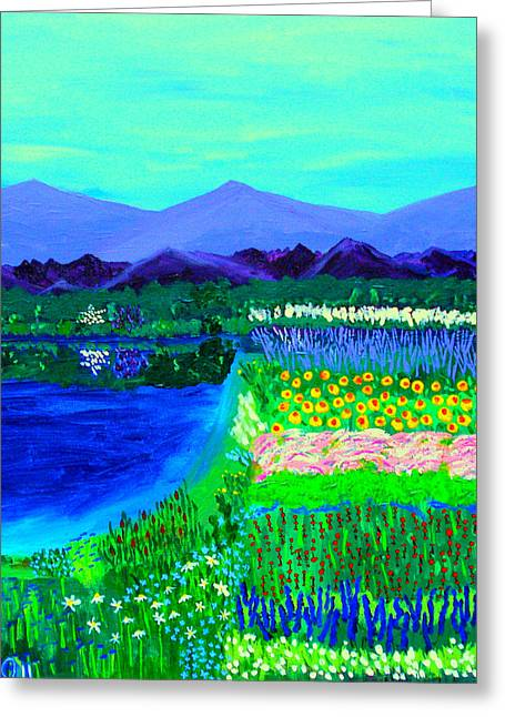 Dogwood Lake Greeting Cards - Lookout over Susans Garden Greeting Card by Angela Annas