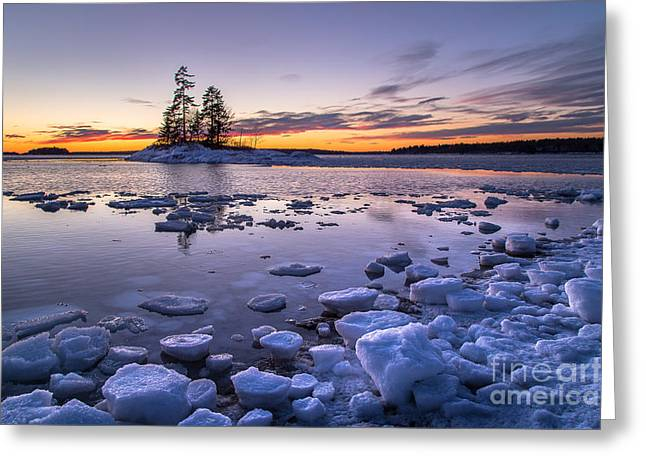 Maine Islands Greeting Cards - Lookout Point Ice Greeting Card by Benjamin Williamson