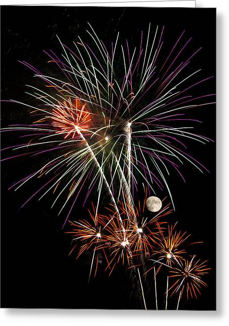 Pyrotechnics Greeting Cards - Looks Like Flowers - Fireworks and Moon Greeting Card by Penny Lisowski