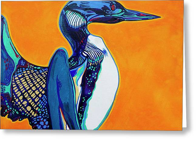 Fauvist Wildlife Art Greeting Cards - Loon Greeting Card by Derrick Higgins
