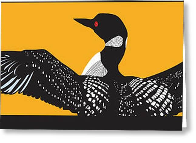 Swimmers Digital Greeting Cards - Loon Lake Greeting Card by Derrick Higgins