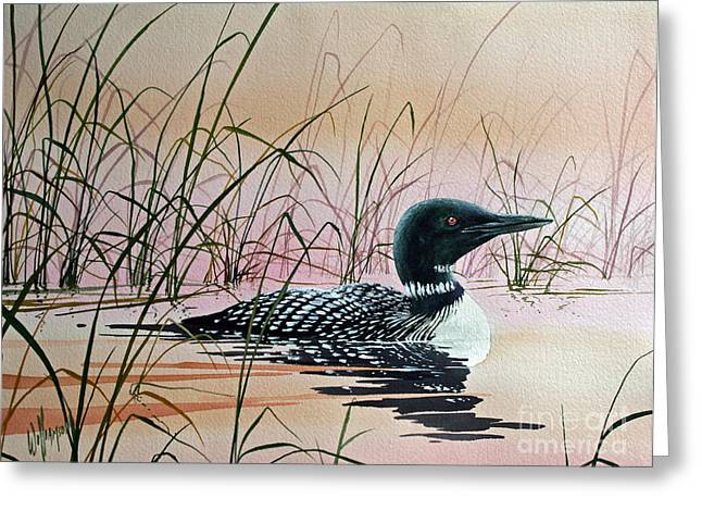 Sunset Greeting Cards Greeting Cards - Loon Sunset Greeting Card by James Williamson