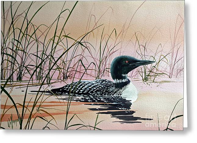 Wildlife Art Acrylic Prints Greeting Cards - Loon Sunset Greeting Card by James Williamson