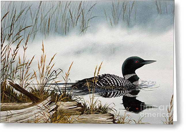 Shore Bird Print Greeting Cards - Loons Misty Shore Greeting Card by James Williamson