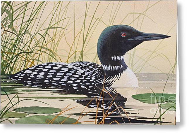 Wildlife Art Acrylic Prints Greeting Cards - Loons Tranquil Shore Greeting Card by James Williamson