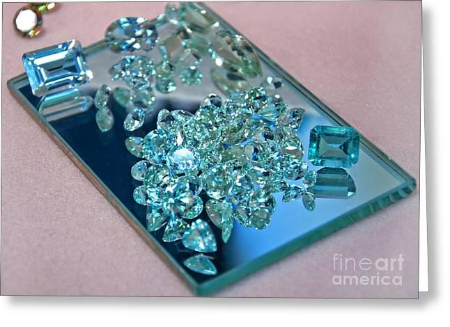 Birthstone Greeting Cards - Loose Aquamarine Gemstones on Mirror Greeting Card by Valerie Garner