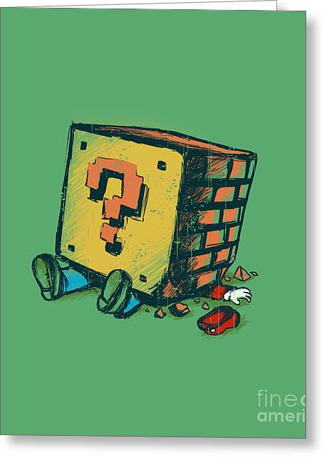Video Game Digital Greeting Cards - Loose Brick Greeting Card by Budi Kwan